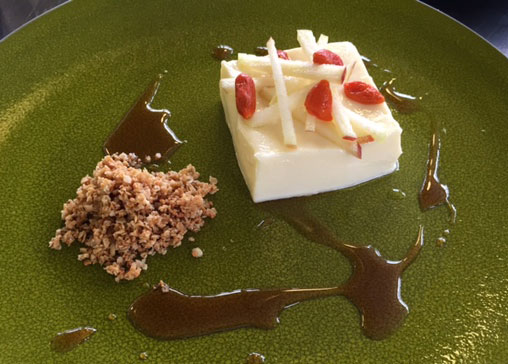 A dessert of apple and white chocolate mousse created by Ashesh