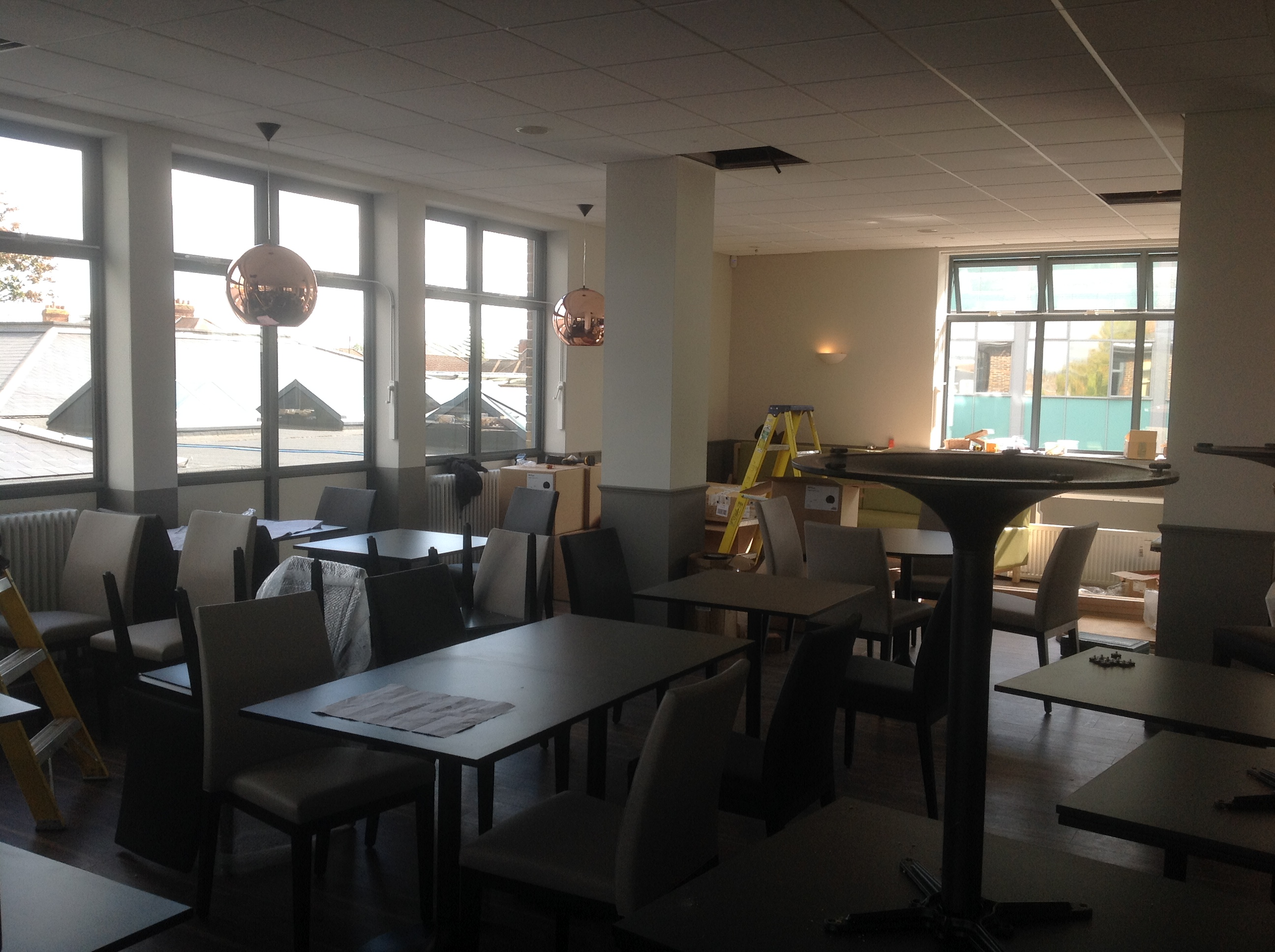 The latest view inside the restaurant - the furniture is coming together