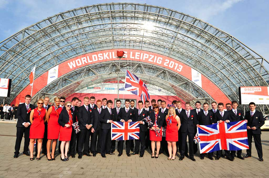 Steven Burge and Team UK at the WorldSkills 2013 final in Leipzig